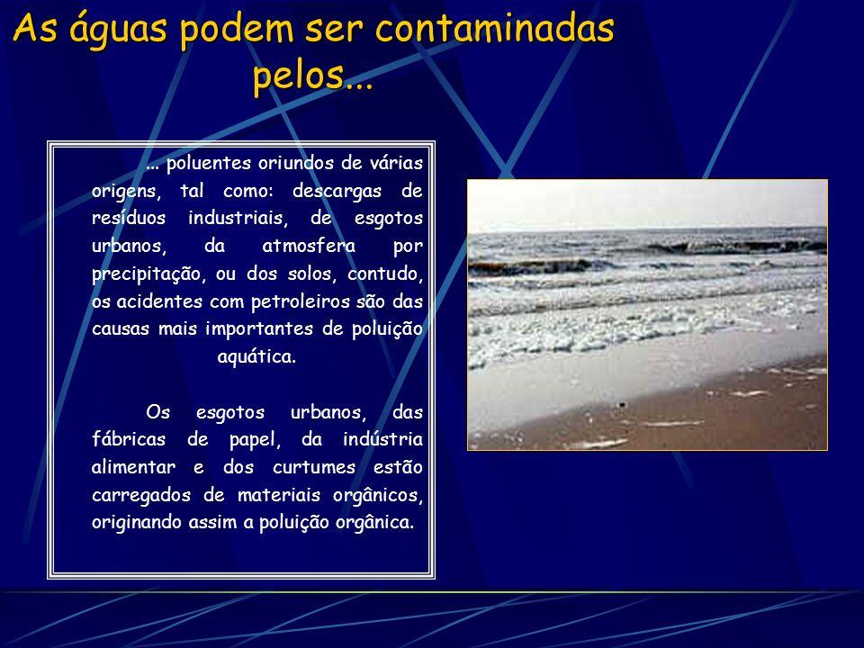 As águas podem ser contaminadas pelos...