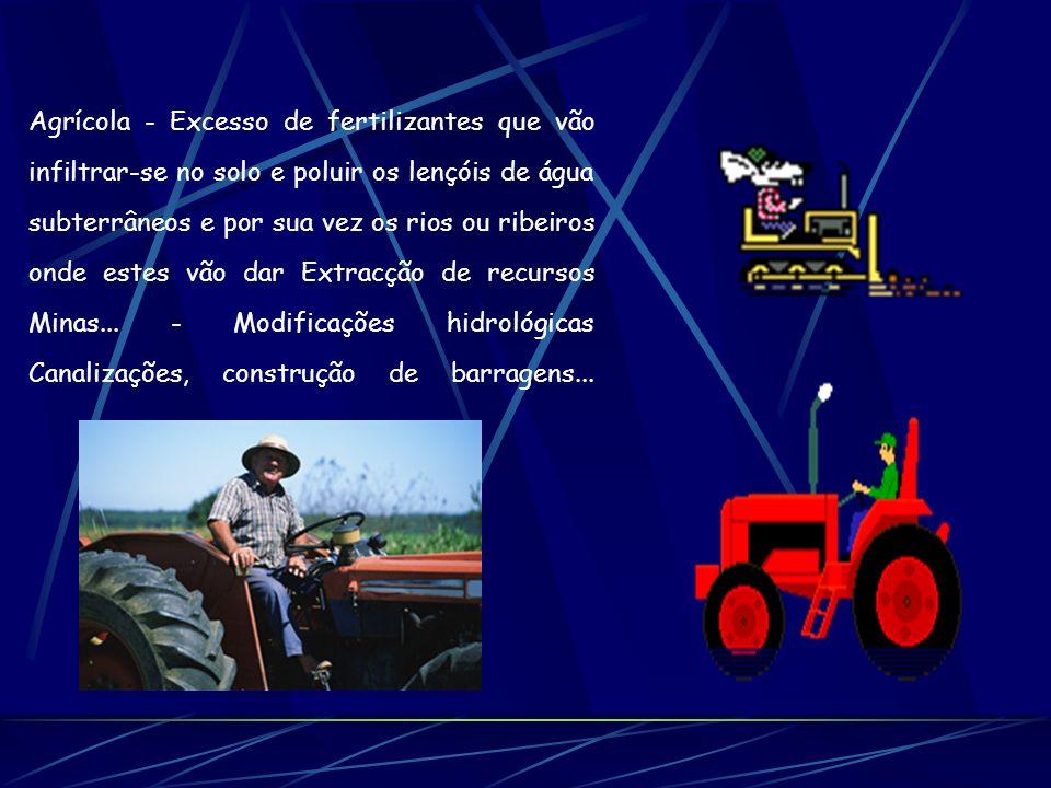 Agrícola - Excesso de fertilizantes que vão infiltrar-se no solo e poluir os lençóis de água subterrâneos e por sua vez os rios ou ribeiros onde estes vão dar Extracção de recursos Minas...