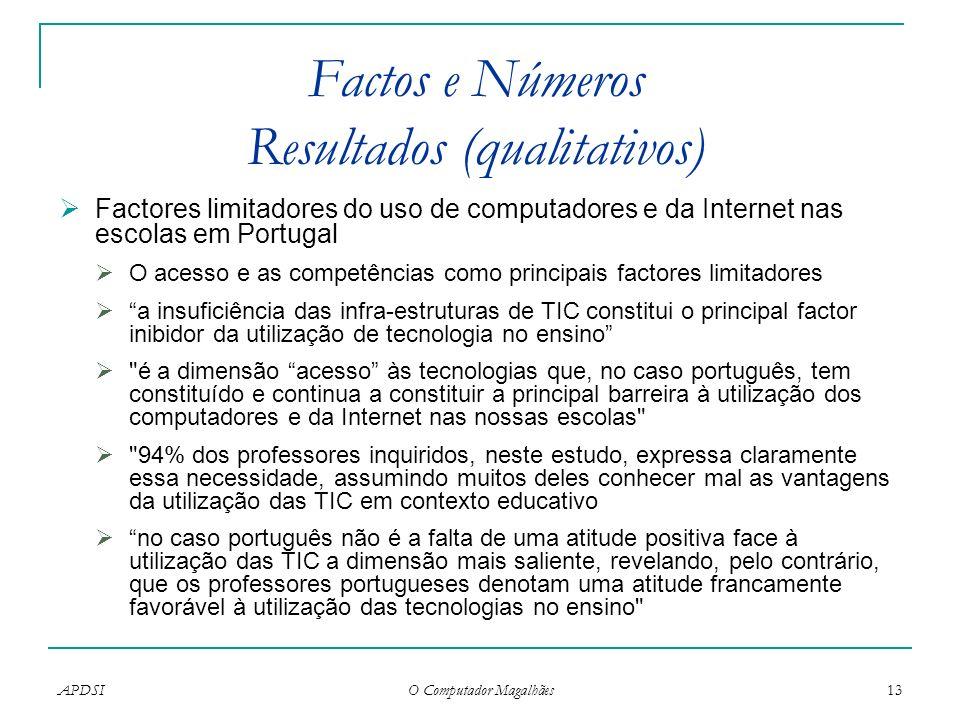 Factos e Números Resultados (qualitativos)