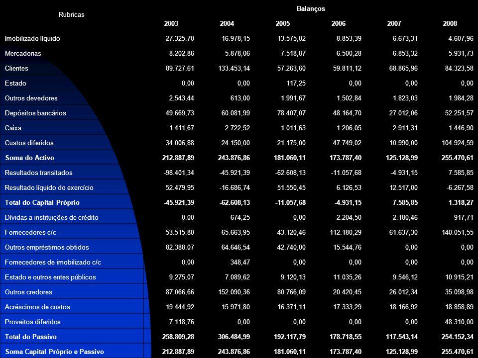 RubricasBalanços. 2003. 2004. 2005. 2006. 2007. 2008. Imobilizado líquido. 27.325,70. 16.978,15. 13.575,02.