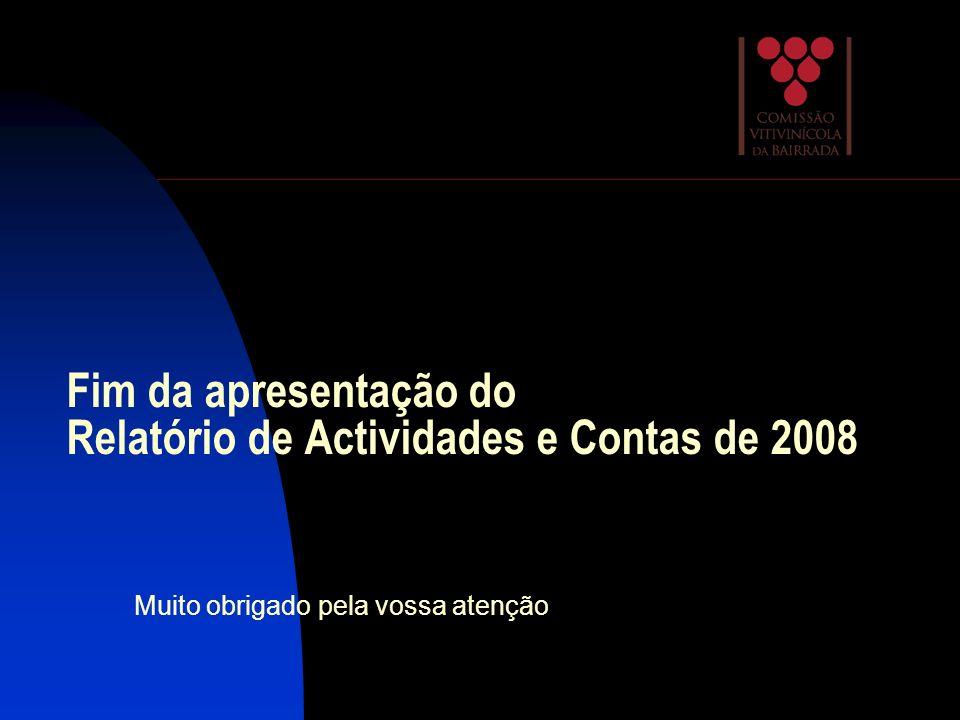 Fim da apresentação do Relatório de Actividades e Contas de 2008