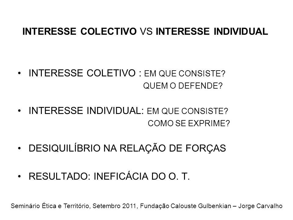 INTERESSE COLECTIVO VS INTERESSE INDIVIDUAL