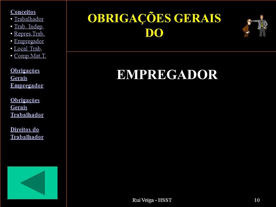 EMPREGADOR OBRIGAÇÕES GERAIS DO Conceitos Trabalhador Trab. Indep.