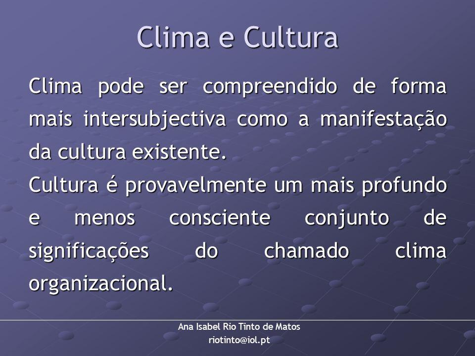 Clima e Cultura Clima pode ser compreendido de forma mais intersubjectiva como a manifestação da cultura existente.