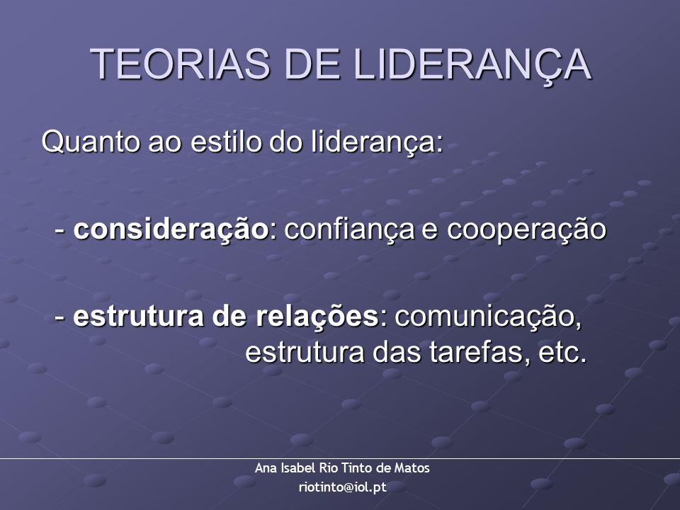 TEORIAS DE LIDERANÇA Quanto ao estilo do liderança: