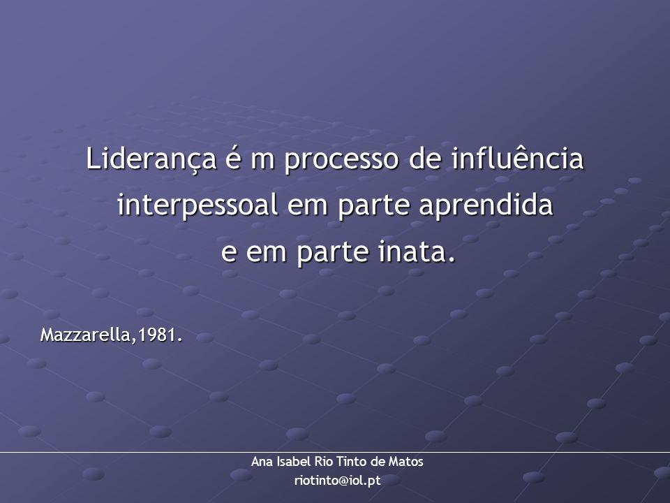 Liderança é m processo de influência interpessoal em parte aprendida