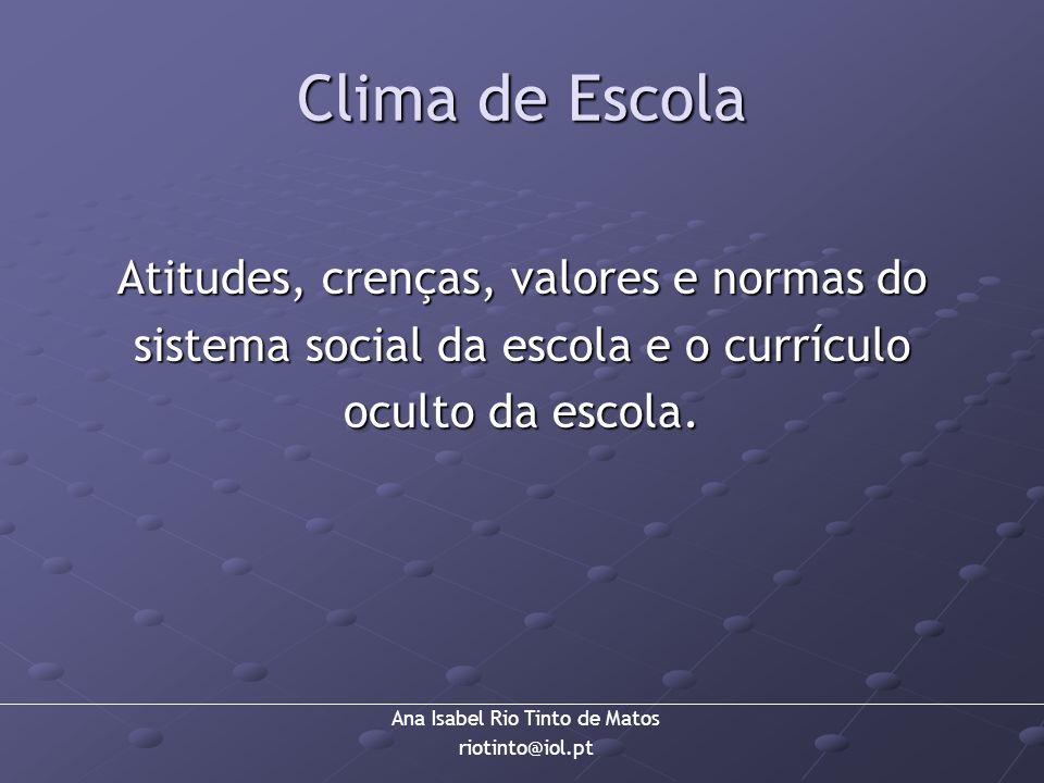 Clima de Escola Atitudes, crenças, valores e normas do sistema social da escola e o currículo oculto da escola.