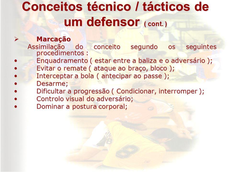 Conceitos técnico / tácticos de um defensor ( cont. )