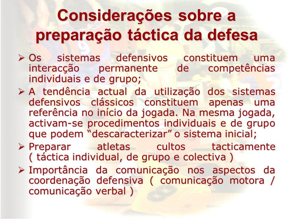 Considerações sobre a preparação táctica da defesa