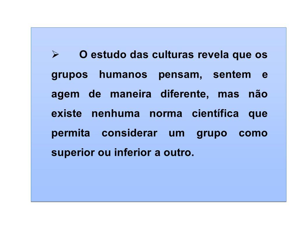 O estudo das culturas revela que os grupos humanos pensam, sentem e agem de maneira diferente, mas não existe nenhuma norma científica que permita considerar um grupo como superior ou inferior a outro.