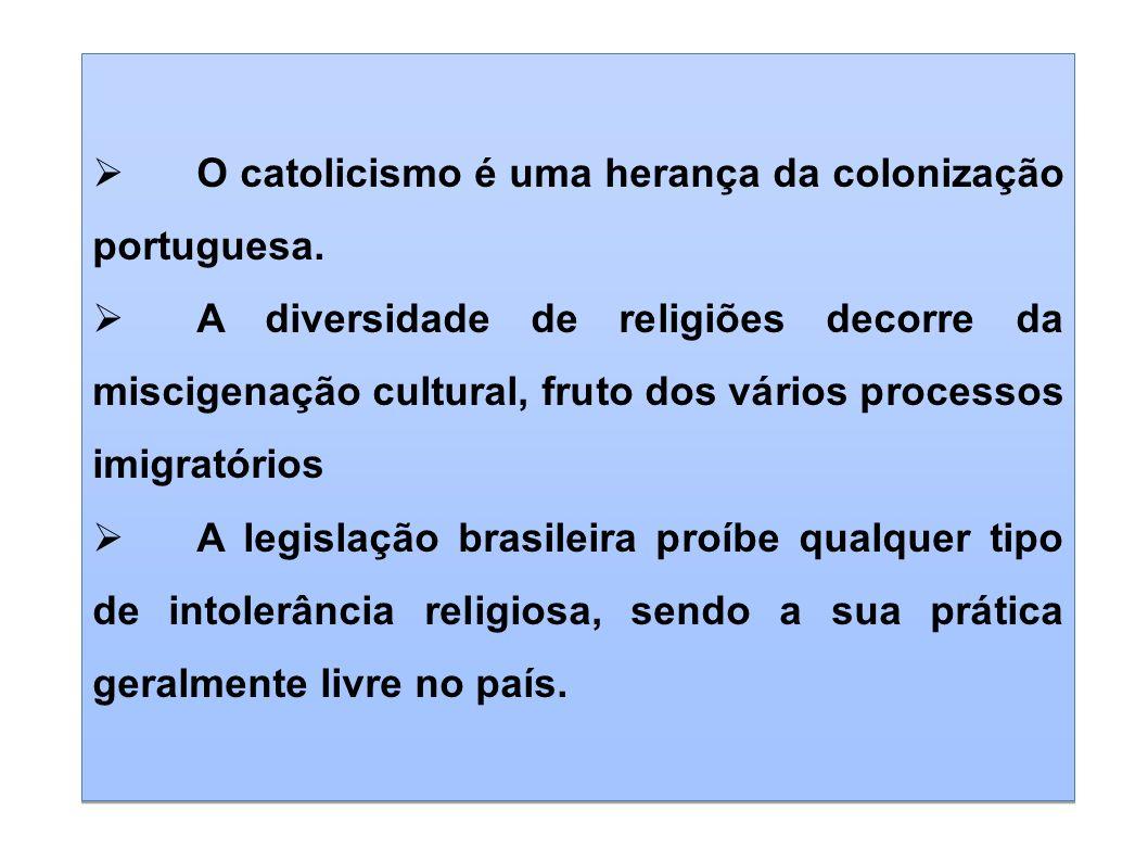O catolicismo é uma herança da colonização portuguesa.