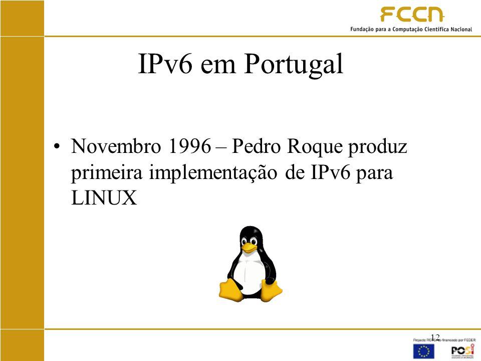 IPv6 em Portugal Novembro 1996 – Pedro Roque produz primeira implementação de IPv6 para LINUX