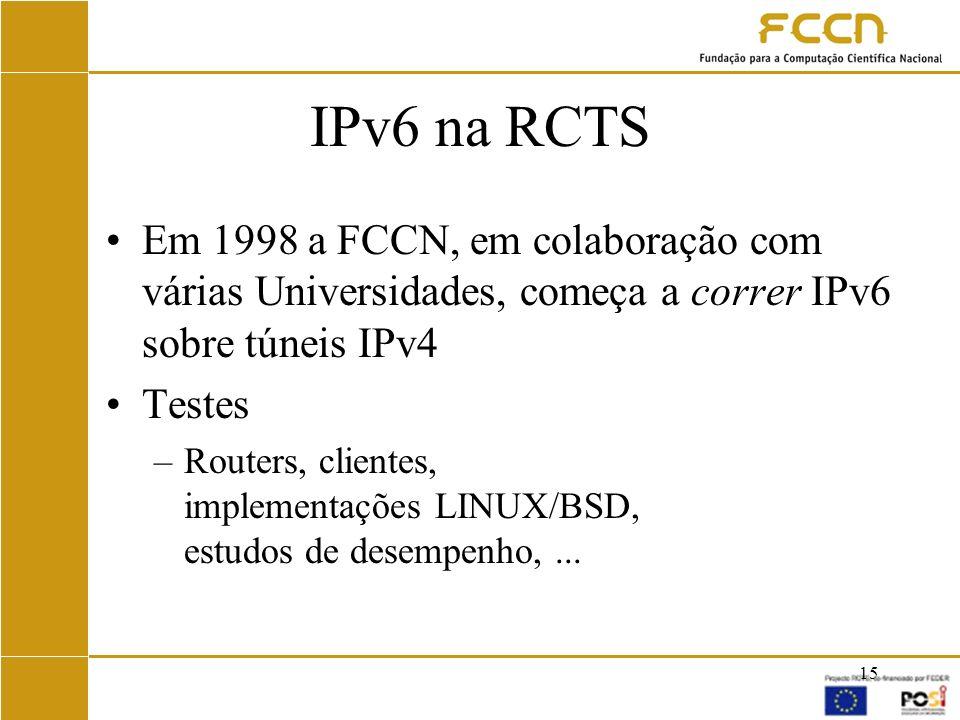 IPv6 na RCTS Em 1998 a FCCN, em colaboração com várias Universidades, começa a correr IPv6 sobre túneis IPv4.