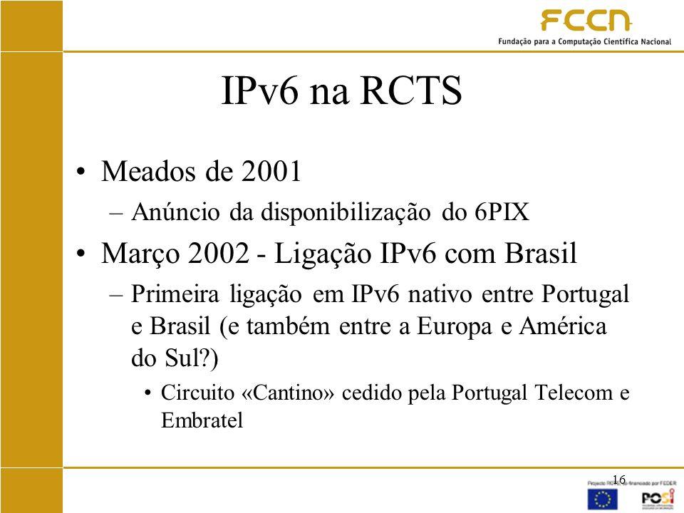 IPv6 na RCTS Meados de 2001 Março 2002 - Ligação IPv6 com Brasil