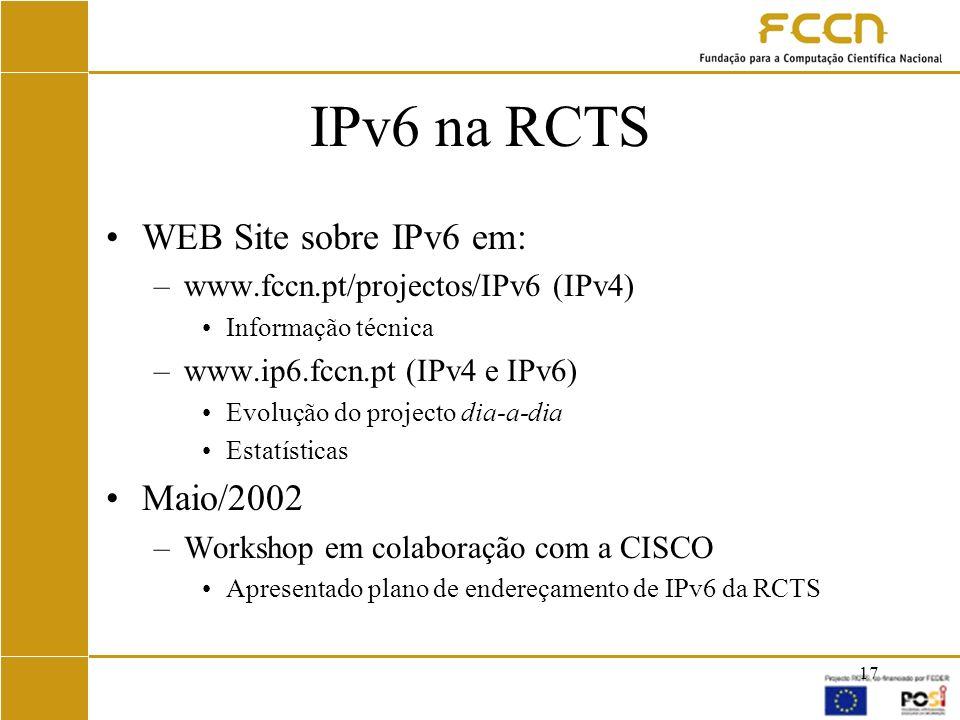 IPv6 na RCTS WEB Site sobre IPv6 em: Maio/2002