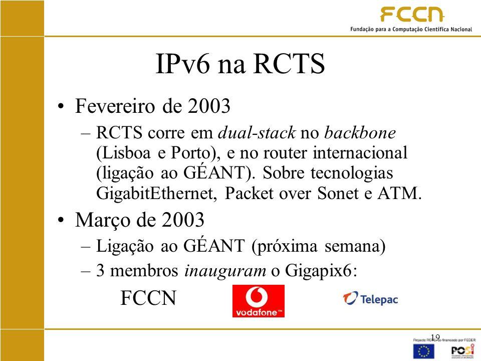 IPv6 na RCTS Fevereiro de 2003 Março de 2003 FCCN