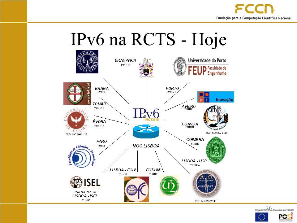 IPv6 na RCTS - Hoje