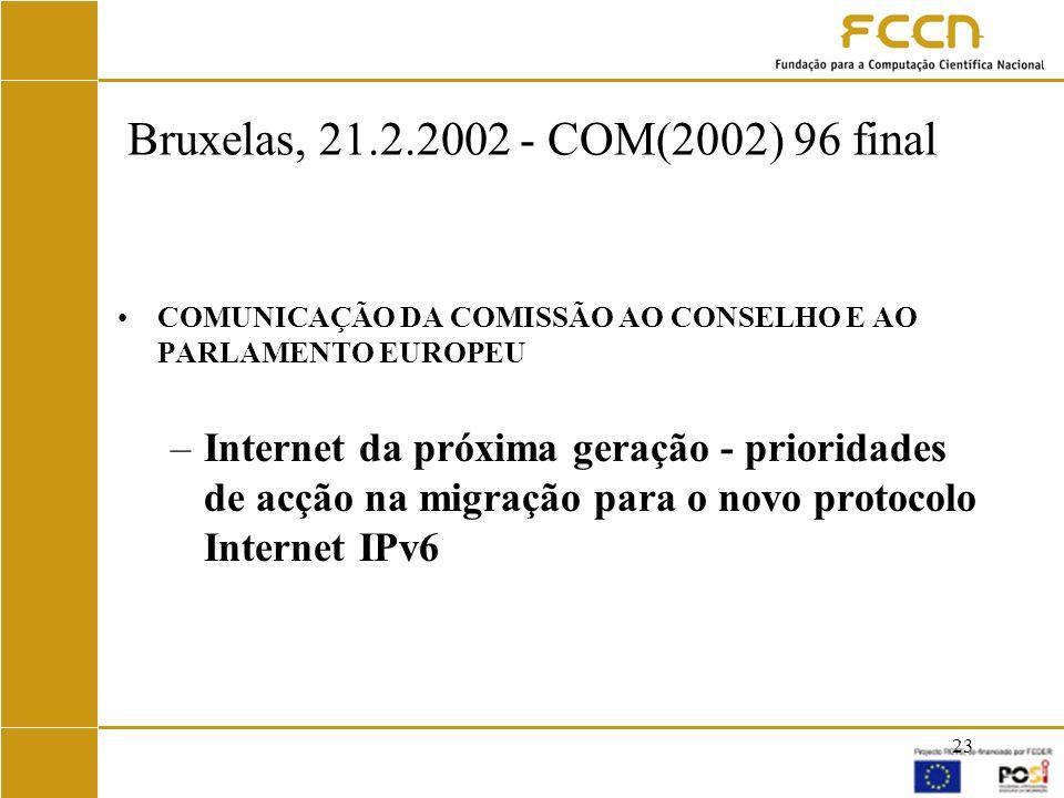 Bruxelas, 21.2.2002 - COM(2002) 96 final COMUNICAÇÃO DA COMISSÃO AO CONSELHO E AO PARLAMENTO EUROPEU.