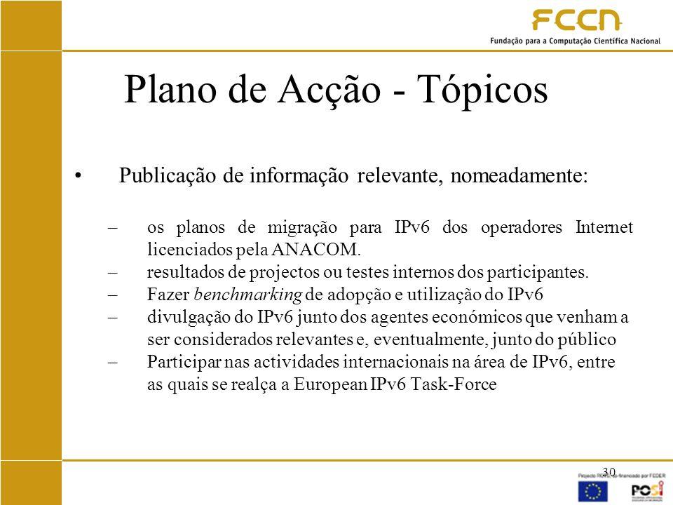 Plano de Acção - Tópicos