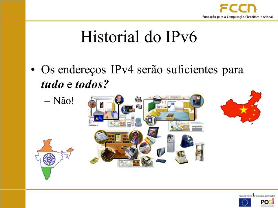 Historial do IPv6 Os endereços IPv4 serão suficientes para tudo e todos Não!