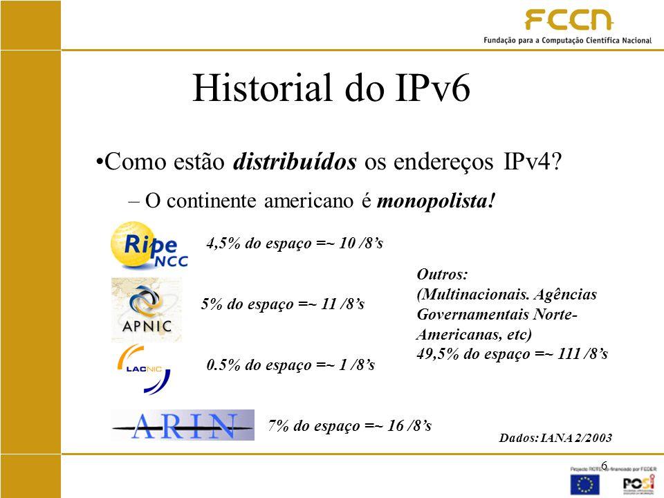 Historial do IPv6 Como estão distribuídos os endereços IPv4