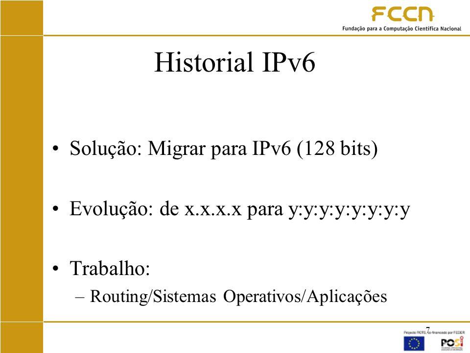 Historial IPv6 Solução: Migrar para IPv6 (128 bits)