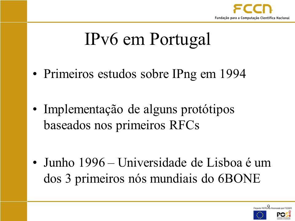 IPv6 em Portugal Primeiros estudos sobre IPng em 1994