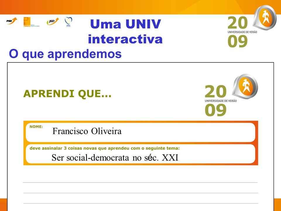 Uma UNIV interactiva O que aprendemos Francisco Oliveira