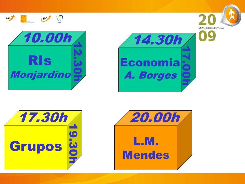 10.00h 14.30h RIs Monjardino 17.30h 20.00h Grupos Economia A. Borges