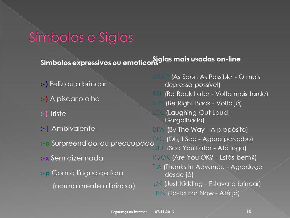 Símbolos e Siglas Siglas mais usadas on-line