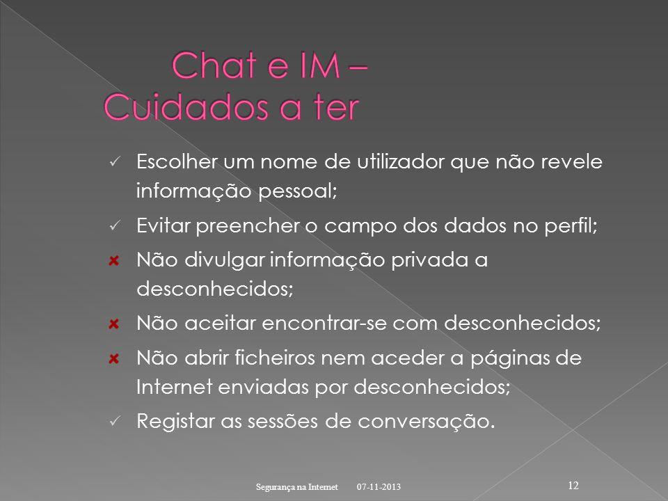 Chat e IM – Cuidados a ter