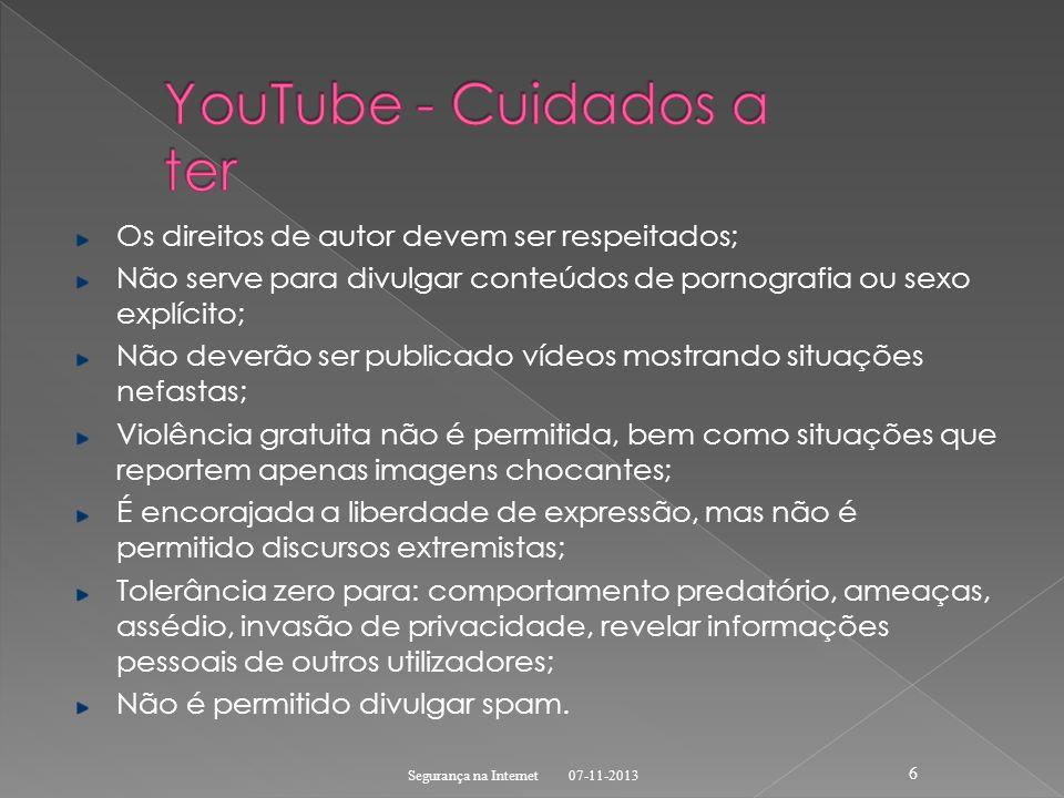 YouTube - Cuidados a ter