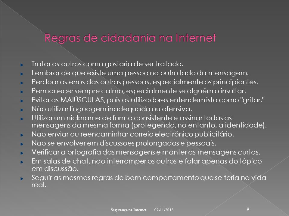 Regras de cidadania na Internet