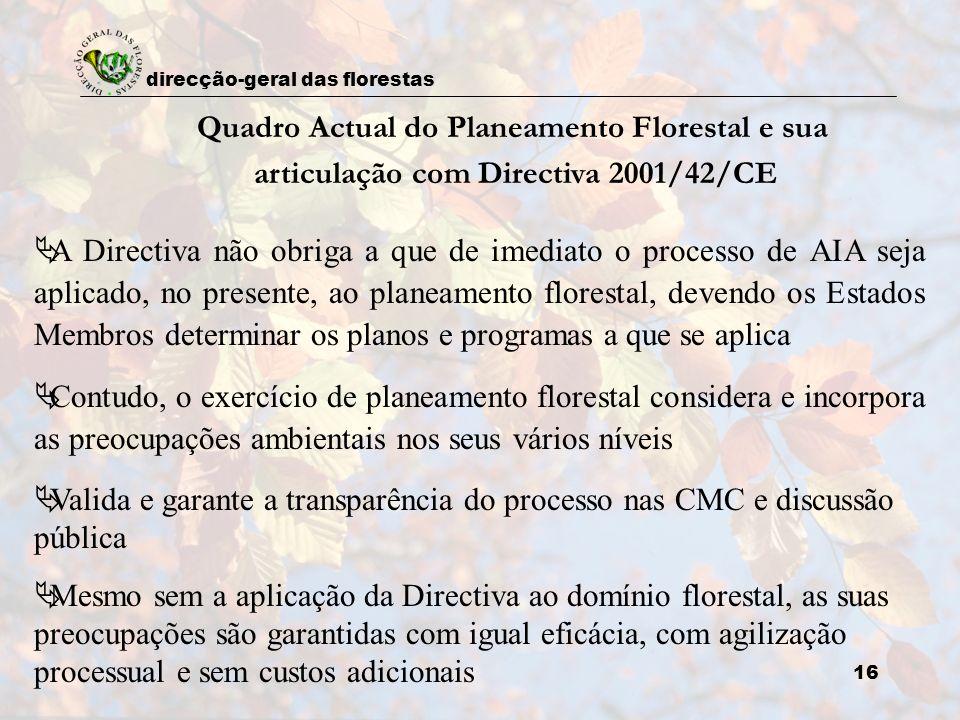 Quadro Actual do Planeamento Florestal e sua