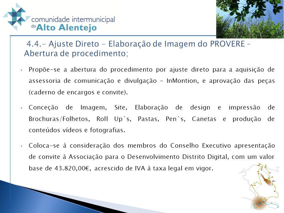 4.4.- Ajuste Direto - Elaboração de Imagem do PROVERE – Abertura de procedimento;