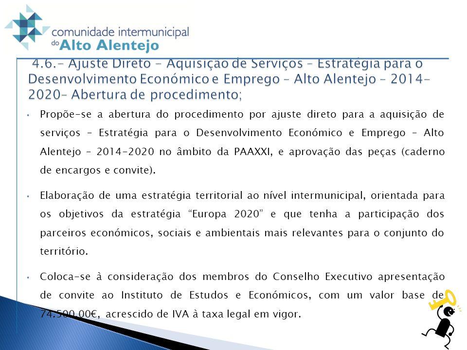 4.6.- Ajuste Direto - Aquisição de Serviços – Estratégia para o Desenvolvimento Económico e Emprego – Alto Alentejo – 2014-2020– Abertura de procedimento;