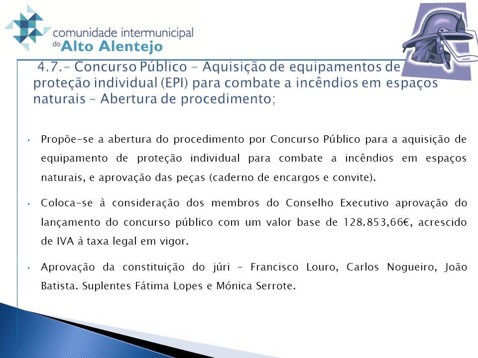 4.7.- Concurso Público - Aquisição de equipamentos de proteção individual (EPI) para combate a incêndios em espaços naturais – Abertura de procedimento;