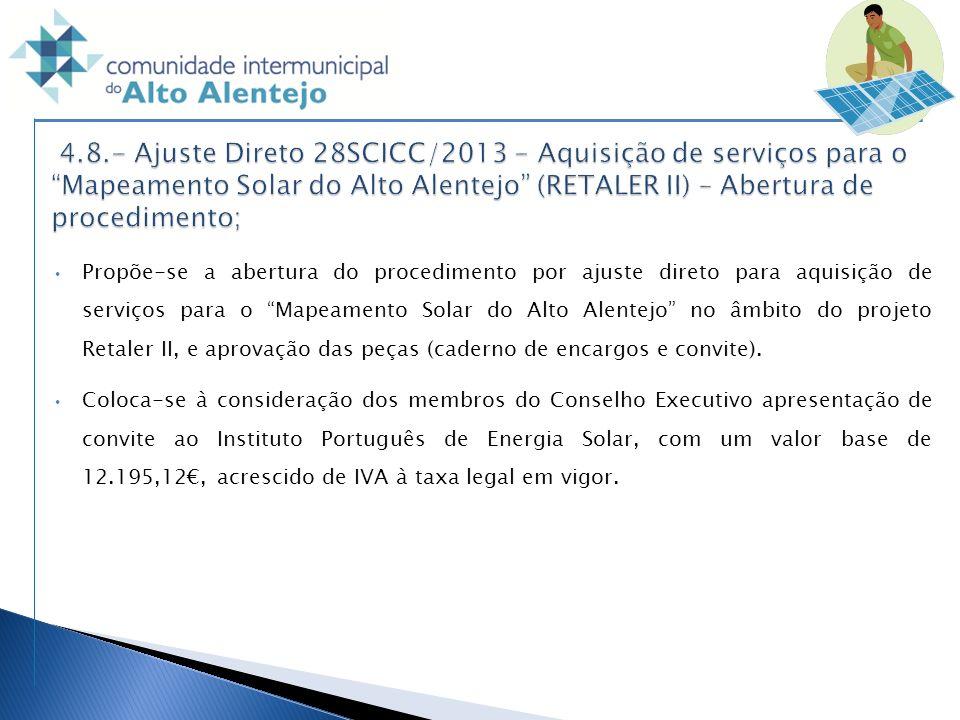 4.8.- Ajuste Direto 28SCICC/2013 - Aquisição de serviços para o Mapeamento Solar do Alto Alentejo (RETALER II) – Abertura de procedimento;