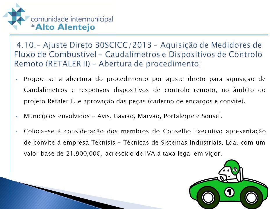 4.10.- Ajuste Direto 30SCICC/2013 - Aquisição de Medidores de Fluxo de Combustível - Caudalímetros e Dispositivos de Controlo Remoto (RETALER II) – Abertura de procedimento;