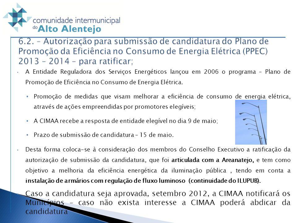 6.2. – Autorização para submissão de candidatura do Plano de Promoção da Eficiência no Consumo de Energia Elétrica (PPEC) 2013 – 2014 – para ratificar;
