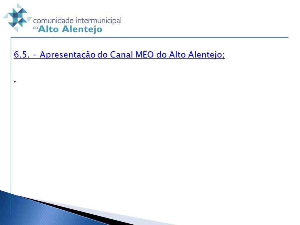 6.5. - Apresentação do Canal MEO do Alto Alentejo;