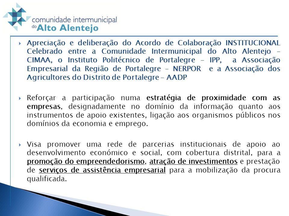 Apreciação e deliberação do Acordo de Colaboração INSTITUCIONAL Celebrado entre a Comunidade Intermunicipal do Alto Alentejo – CIMAA, o Instituto Politécnico de Portalegre – IPP, a Associação Empresarial da Região de Portalegre – NERPOR e a Associação dos Agricultores do Distrito de Portalegre – AADP