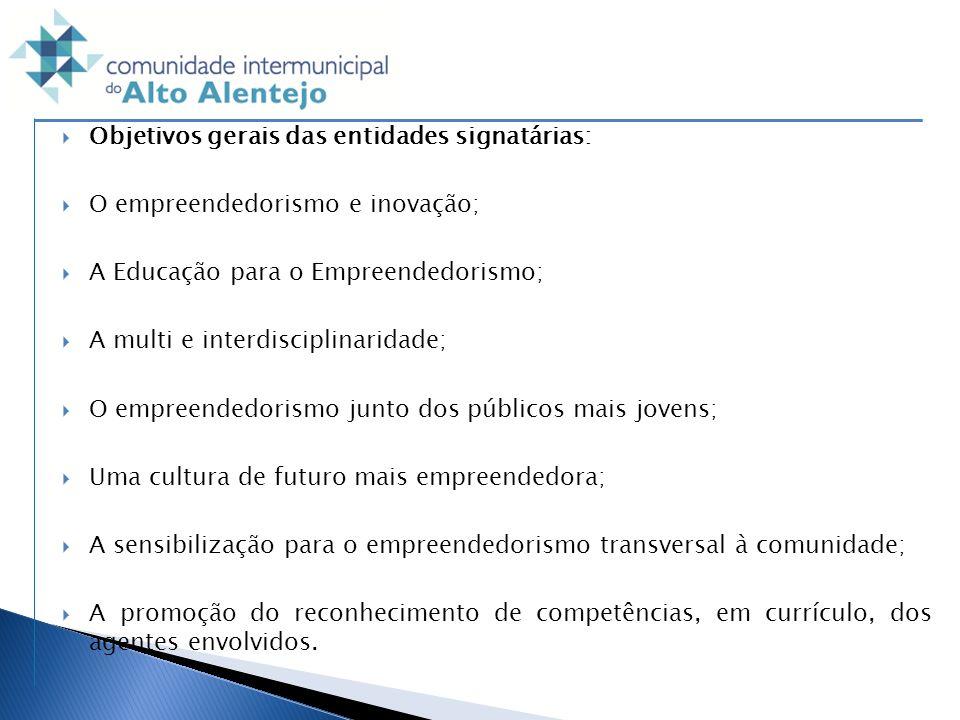 Objetivos gerais das entidades signatárias: