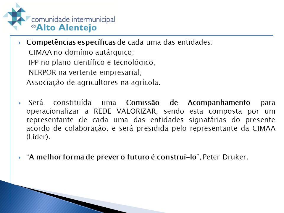 Competências específicas de cada uma das entidades: