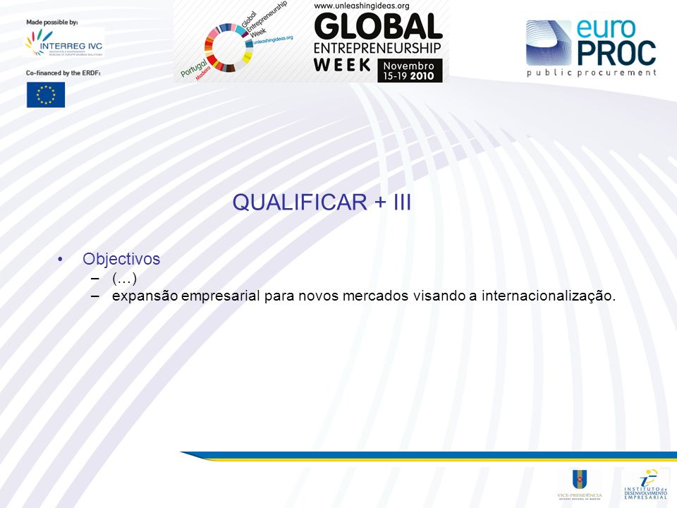 QUALIFICAR + III Objectivos (…)