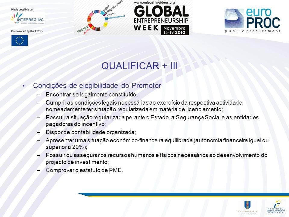 QUALIFICAR + III Condições de elegibilidade do Promotor