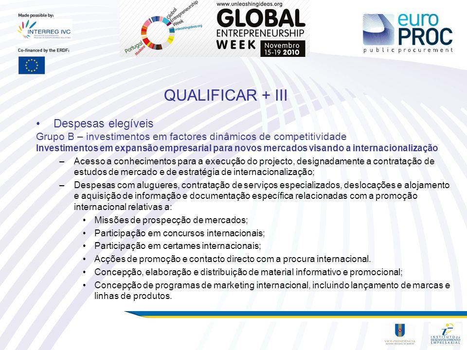 QUALIFICAR + III Despesas elegíveis