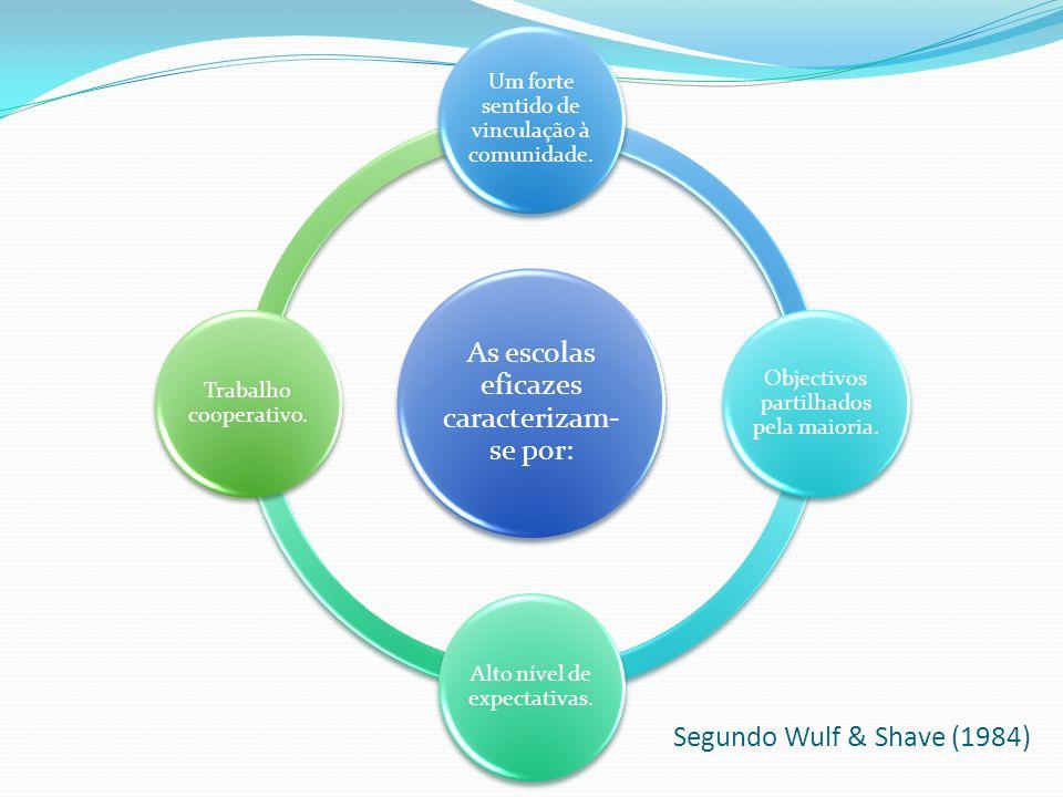 Segundo Wulf & Shave (1984) As escolas eficazes caracterizam-se por: