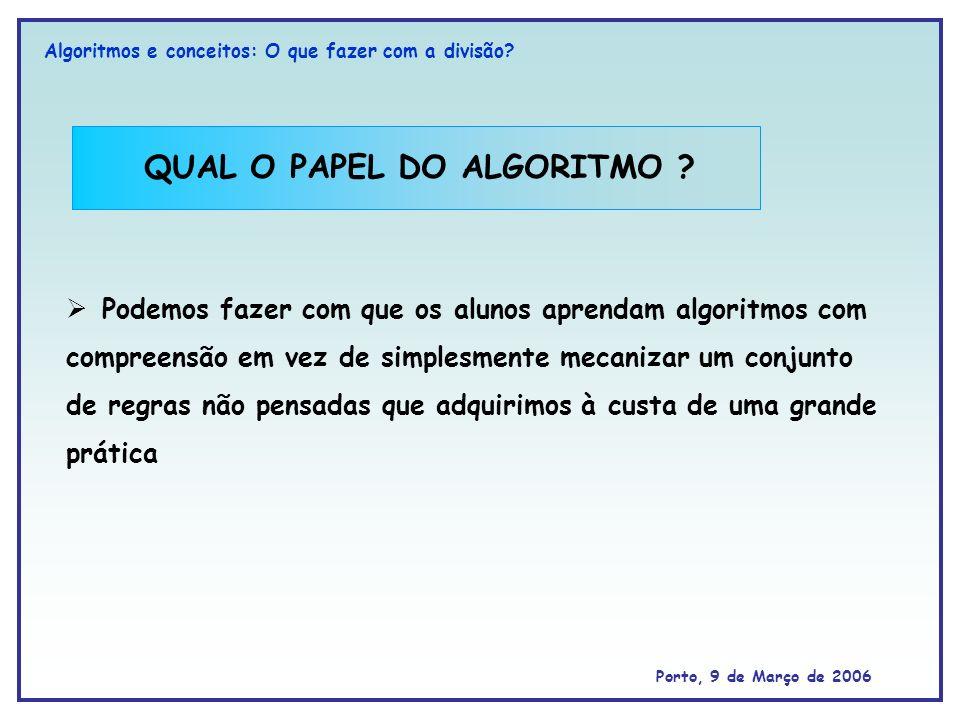 QUAL O PAPEL DO ALGORITMO