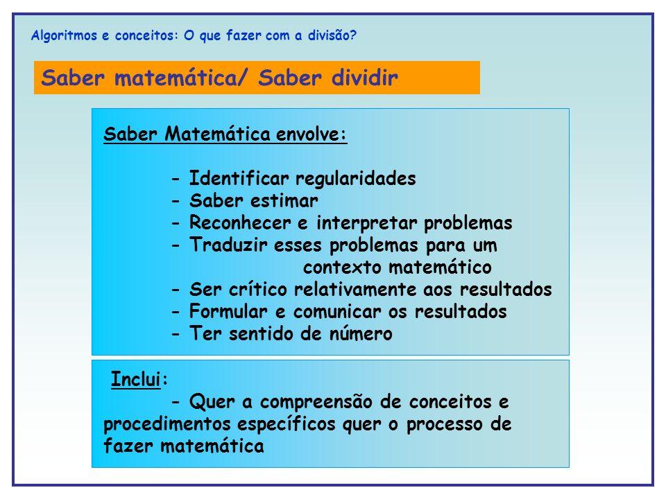 Saber matemática/ Saber dividir